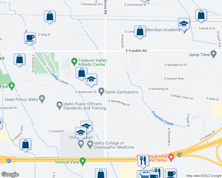 map of restaurants, bars, coffee shops, grocery stores, and more near 491 South Torino Avenue in Meridian