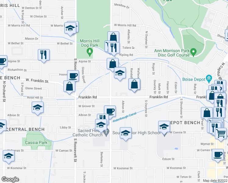 map of restaurants, bars, coffee shops, grocery stores, and more near 3705 Rose Hill Street in Boise
