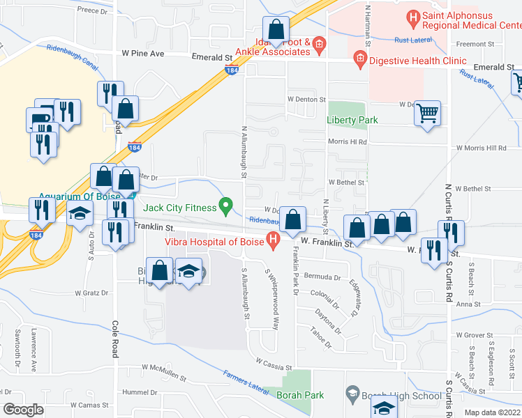 map of restaurants, bars, coffee shops, grocery stores, and more near 6681 Douglas St in Boise