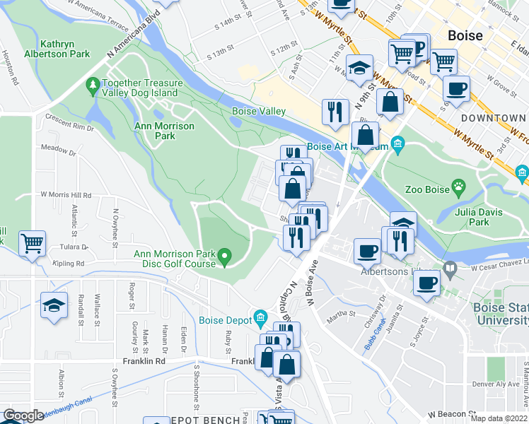 map of restaurants, bars, coffee shops, grocery stores, and more near West Ann Morrison Park Drive in Boise