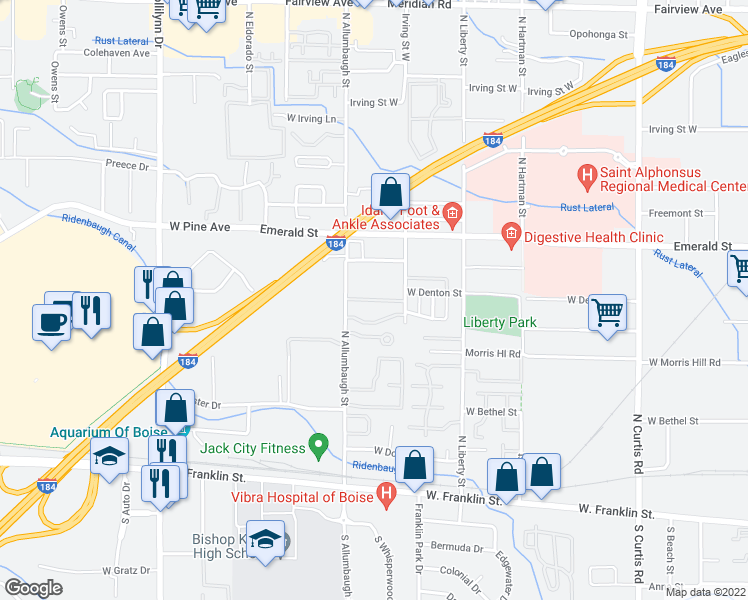 map of restaurants, bars, coffee shops, grocery stores, and more near 6712 West Clinton Lane in Boise