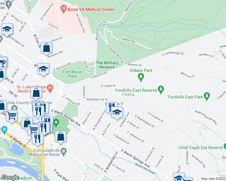 map of restaurants, bars, coffee shops, grocery stores, and more near 463 Ave H in Boise
