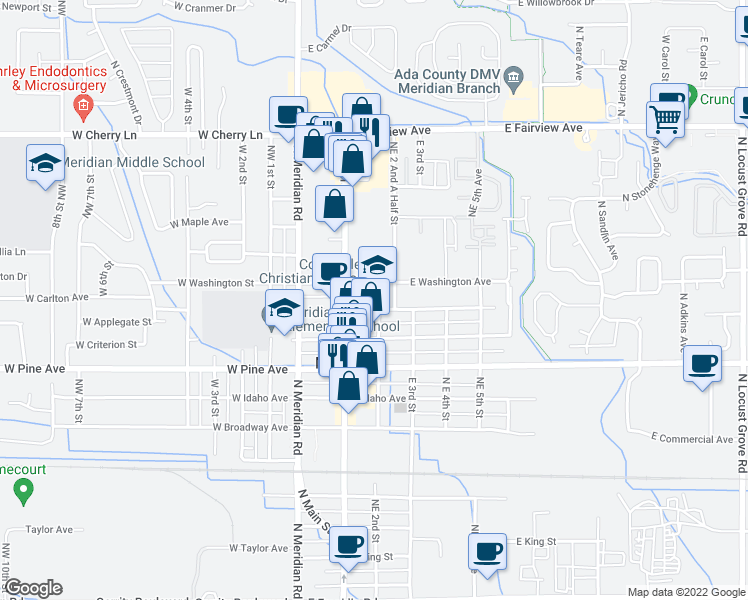 map of restaurants, bars, coffee shops, grocery stores, and more near 200 East Carlton Avenue in Meridian