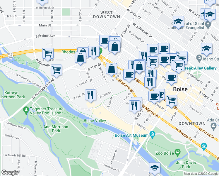 map of restaurants, bars, coffee shops, grocery stores, and more near 412 South 13th Street in Boise
