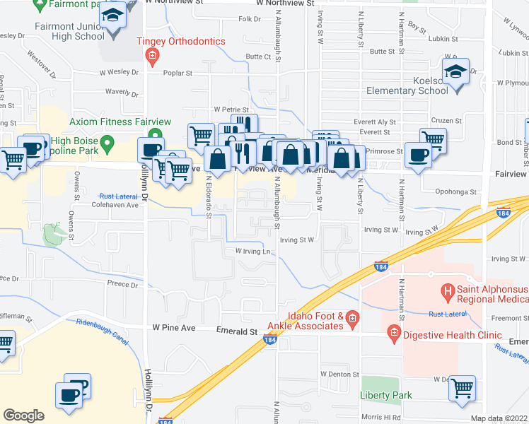 map of restaurants, bars, coffee shops, grocery stores, and more near 6837 West Colehaven Lane in Boise