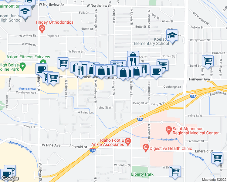 map of restaurants, bars, coffee shops, grocery stores, and more near 1422-1598 North Raymond Street in Boise