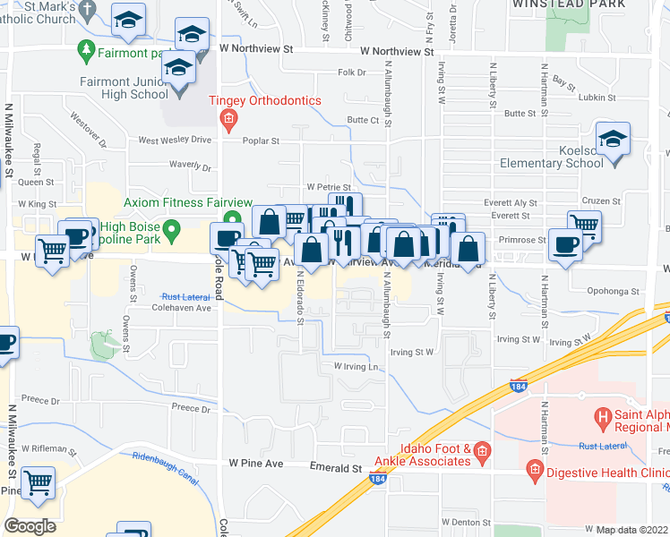 map of restaurants, bars, coffee shops, grocery stores, and more near 1538 North McKinney Lane in Boise