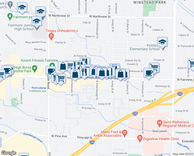 map of restaurants, bars, coffee shops, grocery stores, and more near 1506 North McKinney Lane in Boise
