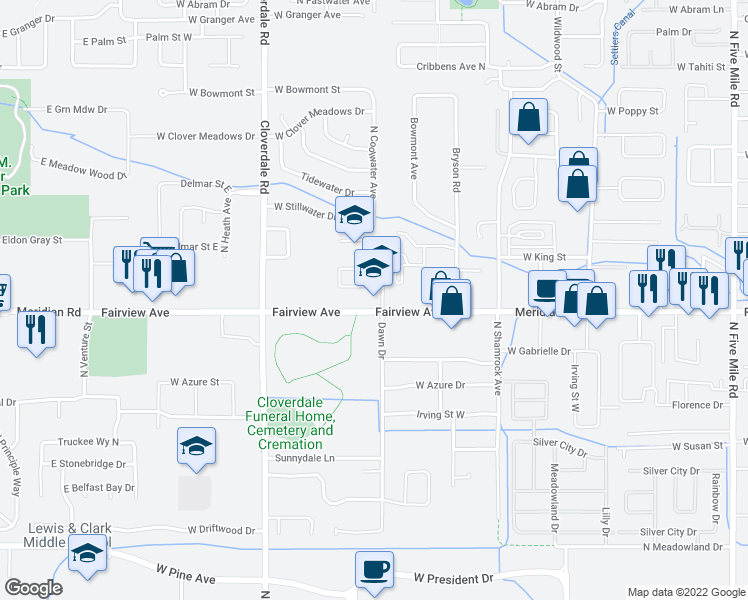 map of restaurants, bars, coffee shops, grocery stores, and more near 11811 Clover Field Lane in Boise
