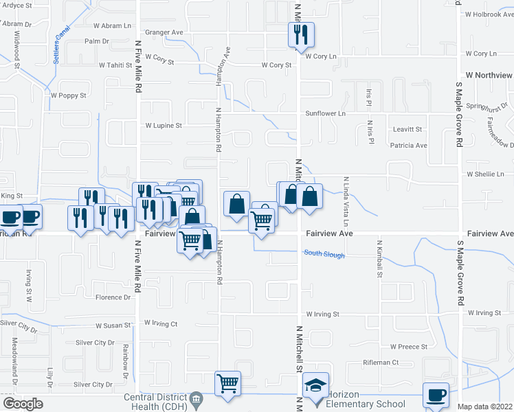 map of restaurants, bars, coffee shops, grocery stores, and more near 10020 West Fairview Avenue in Boise