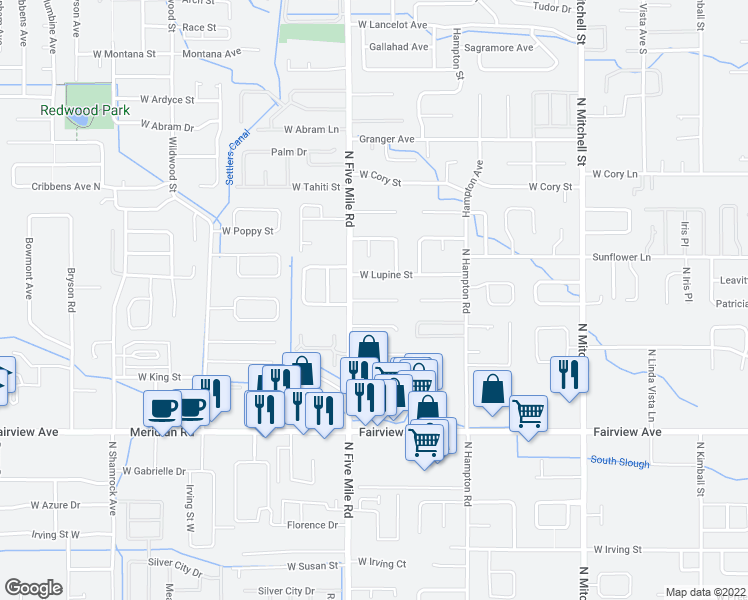 map of restaurants, bars, coffee shops, grocery stores, and more near 10498 West Tidewater Court in Boise