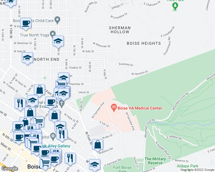 map of restaurants, bars, coffee shops, grocery stores, and more near 401-411 Union St in Boise