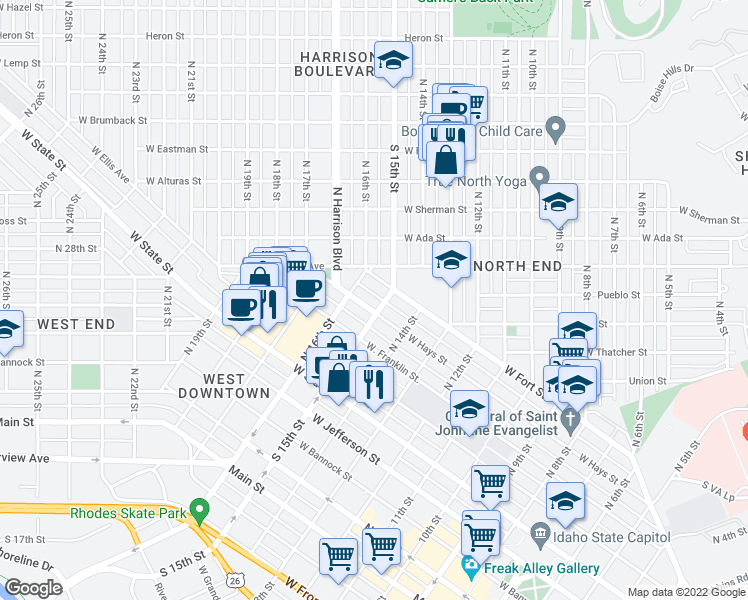 map of restaurants, bars, coffee shops, grocery stores, and more near 1511 West Fort Street in Boise