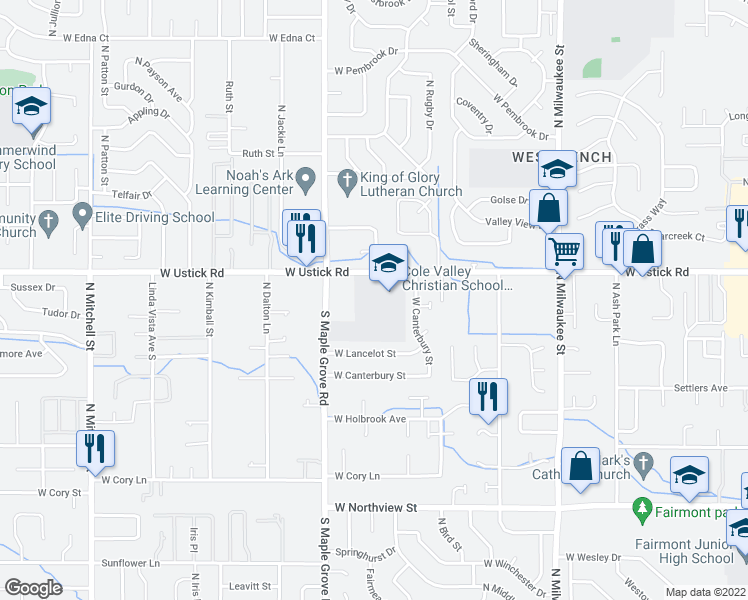 map of restaurants, bars, coffee shops, grocery stores, and more near 8775 Ustick Rd in Boise