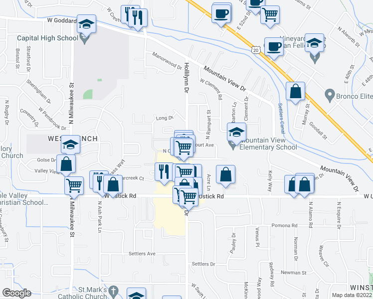 map of restaurants, bars, coffee shops, grocery stores, and more near 7312 West Kingston Drive in Boise