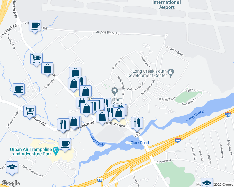 map of restaurants, bars, coffee shops, grocery stores, and more near 108-116 Macarthur Cir E in South Portland