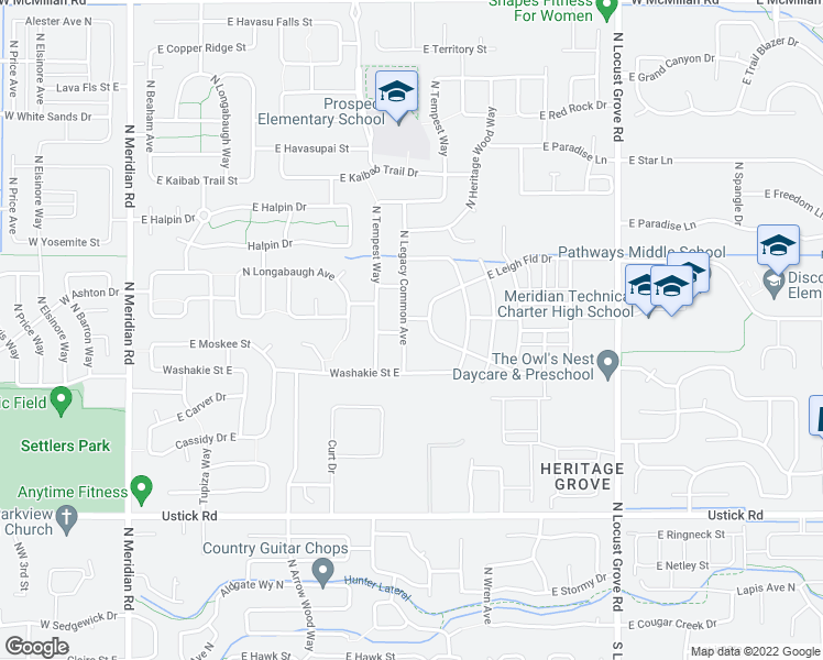 map of restaurants, bars, coffee shops, grocery stores, and more near 902 E Leigh Field Dr in Meridian