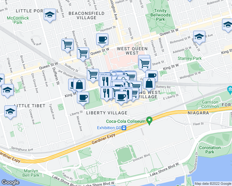 map of restaurants, bars, coffee shops, grocery stores, and more near 61 Hanna Avenue in Toronto