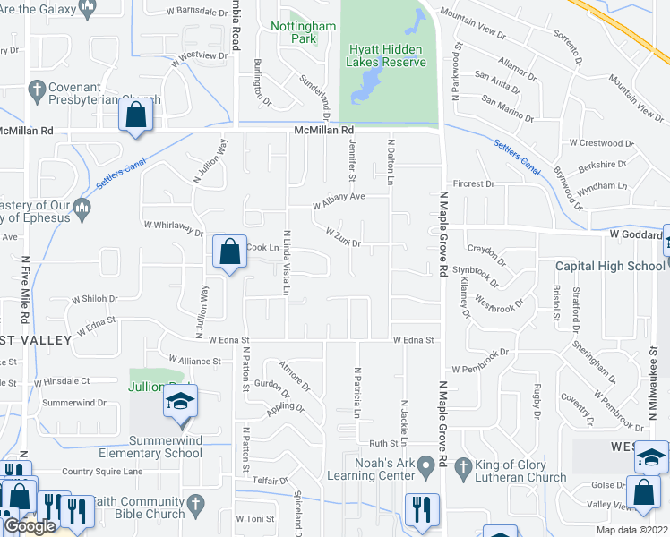 map of restaurants, bars, coffee shops, grocery stores, and more near 9436 Linfield Drive in Boise