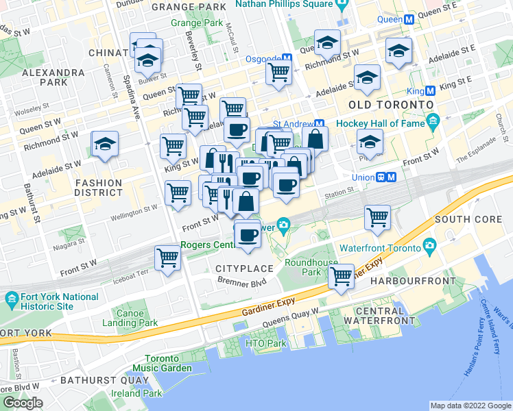 map of restaurants, bars, coffee shops, grocery stores, and more near 300 Front Street West in Toronto