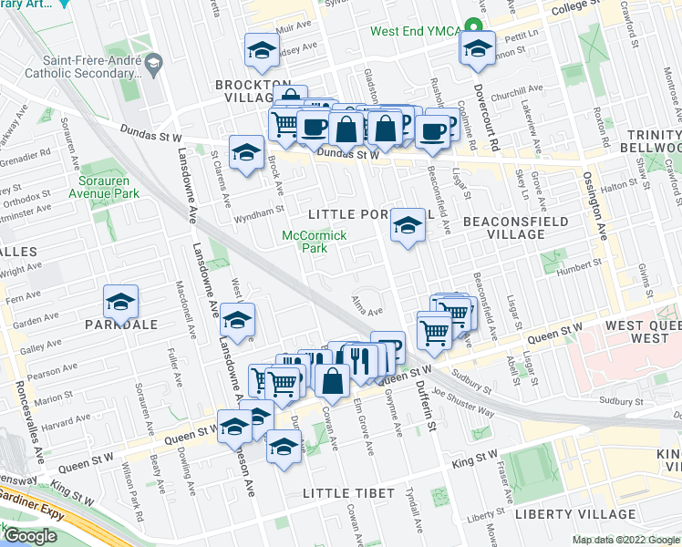 map of restaurants, bars, coffee shops, grocery stores, and more near 51 Florence Street in Toronto