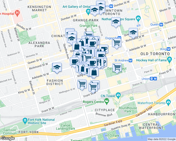 map of restaurants, bars, coffee shops, grocery stores, and more near 70 Peter Street in Toronto