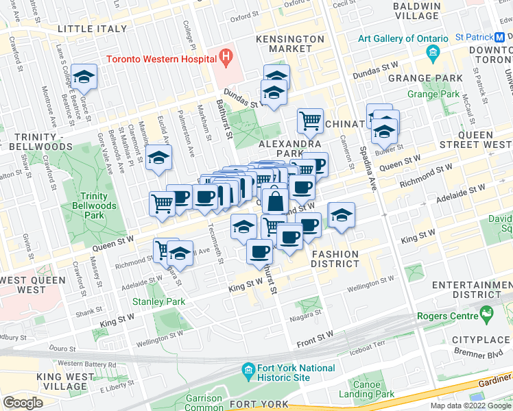 map of restaurants, bars, coffee shops, grocery stores, and more near 639 Queen Street West in Toronto