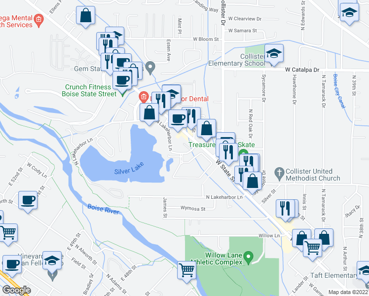 map of restaurants, bars, coffee shops, grocery stores, and more near 3244-3250 North Lakeharbor Lane in Boise