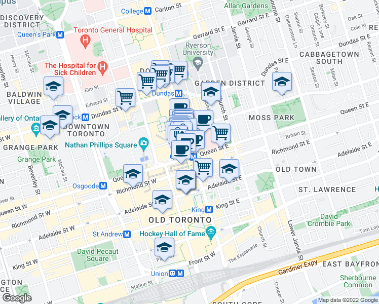 map of restaurants, bars, coffee shops, grocery stores, and more near 2 Queen Street West in Toronto
