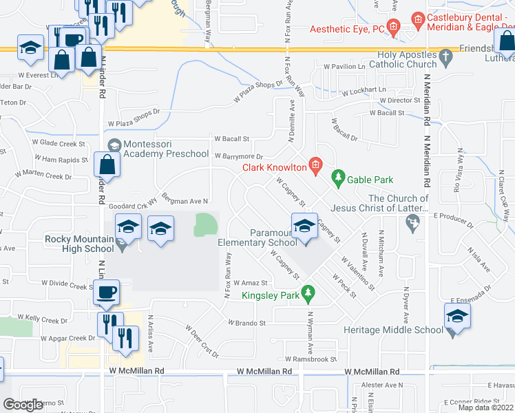 map of restaurants, bars, coffee shops, grocery stores, and more near 850 West Colbert Street in Meridian
