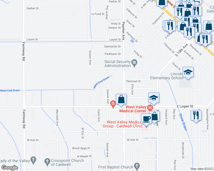 map of restaurants, bars, coffee shops, grocery stores, and more near 301-399 Parkview Lane in Caldwell