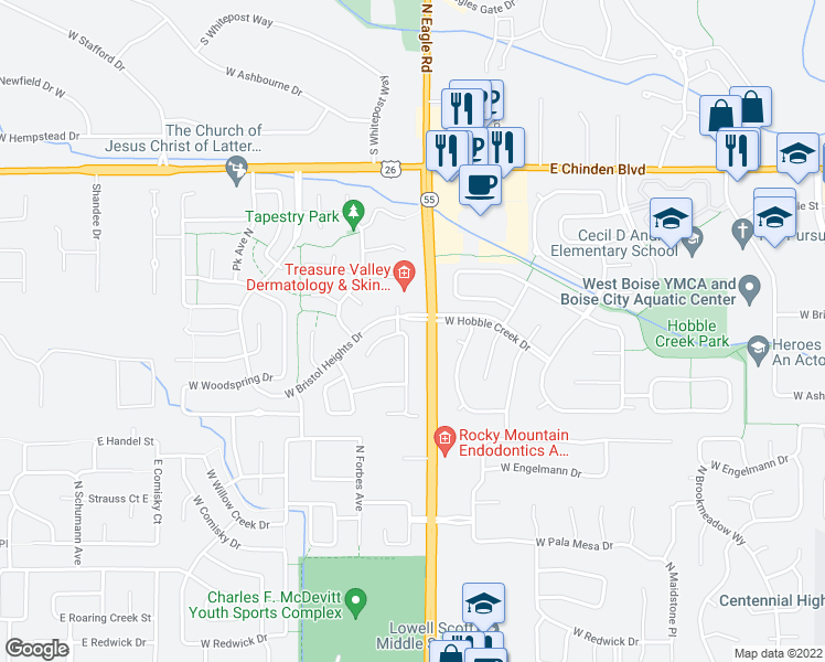 map of restaurants, bars, coffee shops, grocery stores, and more near 5960 North Parchment Place in Boise