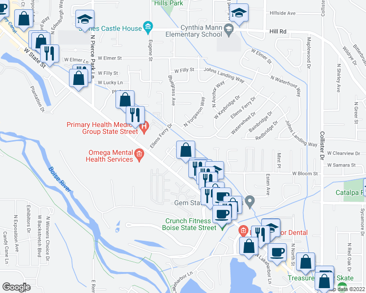 map of restaurants, bars, coffee shops, grocery stores, and more near 5800 West Clearview