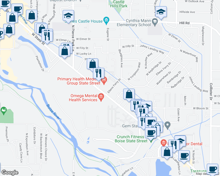 map of restaurants, bars, coffee shops, grocery stores, and more near 5980-5998 Ellens Ferry Drive in Boise
