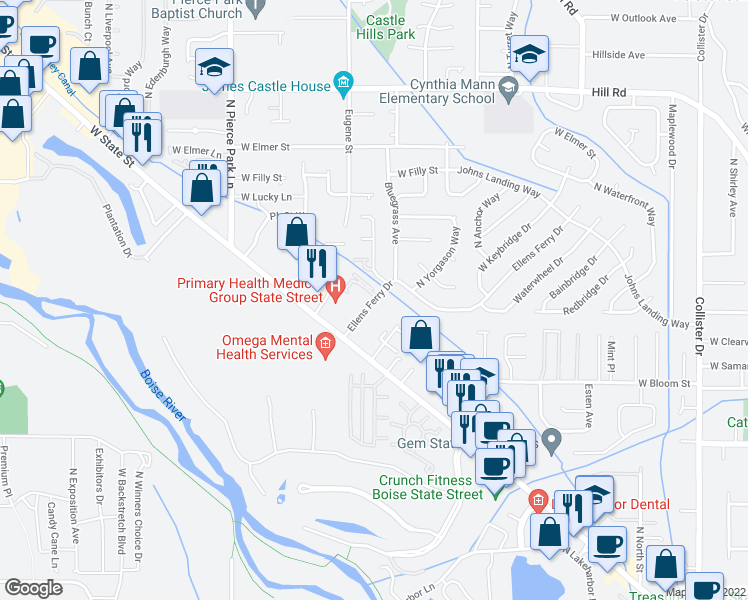 map of restaurants, bars, coffee shops, grocery stores, and more near 4401-4419 North Crimson Place in Boise