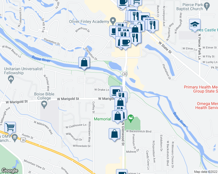 map of restaurants, bars, coffee shops, grocery stores, and more near 6200 River Pointe Drive in Garden City
