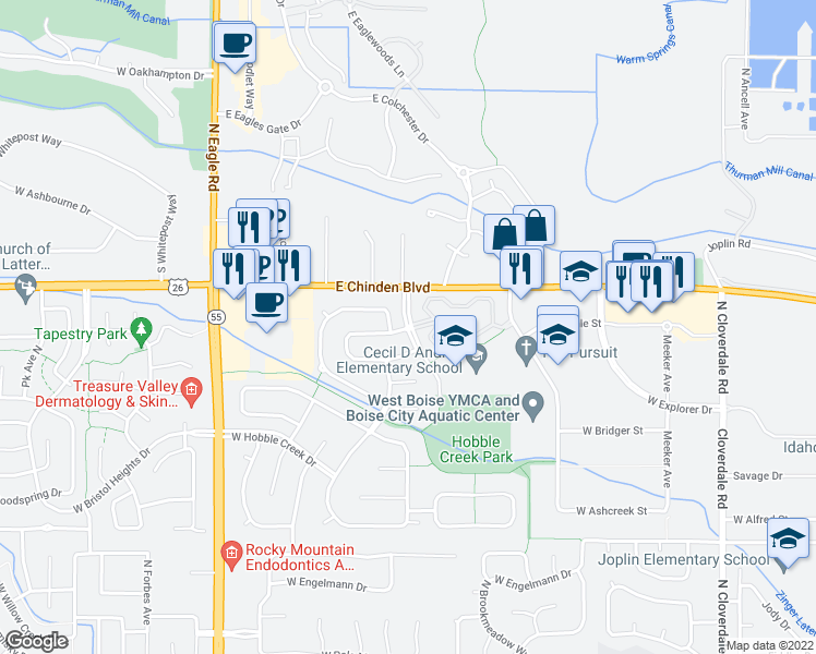 map of restaurants, bars, coffee shops, grocery stores, and more near 13232 West Bluebell Drive in Boise