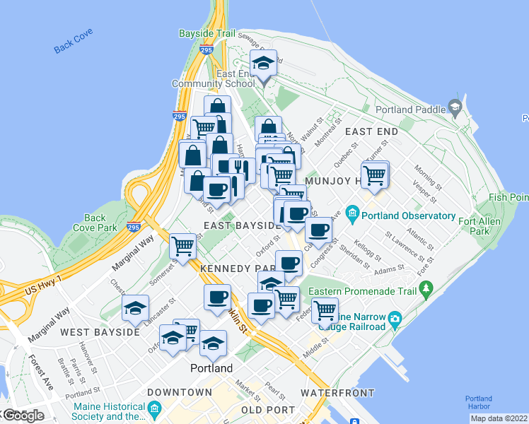 map of restaurants, bars, coffee shops, grocery stores, and more near 19 Madison St in Portland