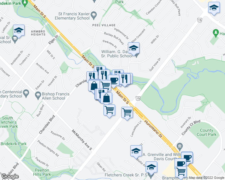 map of restaurants, bars, coffee shops, grocery stores, and more near 499 Main Street South in Brampton