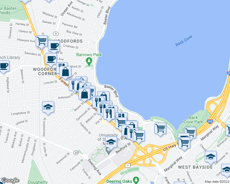 map of restaurants, bars, coffee shops, grocery stores, and more near 214 Baxter Blvd in Portland