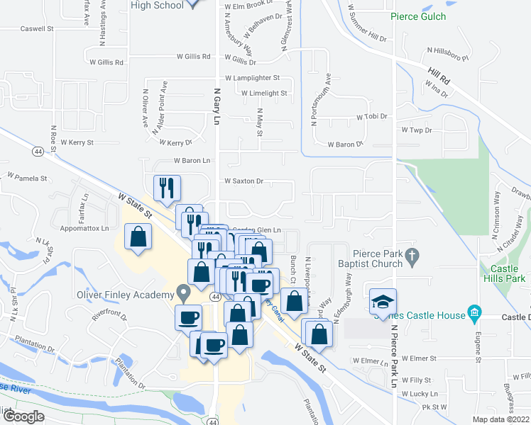 map of restaurants, bars, coffee shops, grocery stores, and more near 7073 West Saxton Drive in Boise