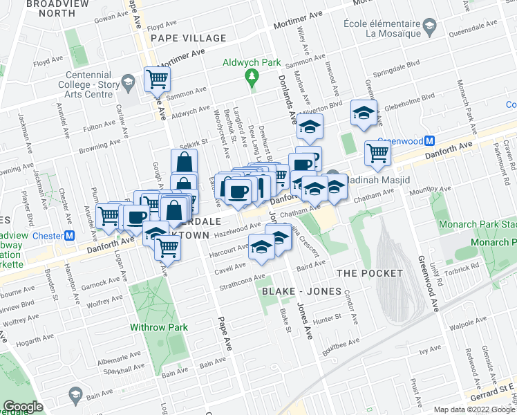 map of restaurants, bars, coffee shops, grocery stores, and more near 815 Danforth Ave in Toronto