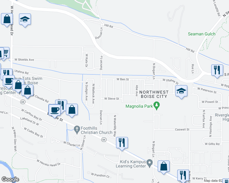 map of restaurants, bars, coffee shops, grocery stores, and more near 7534 North Misty Cove Avenue in Boise