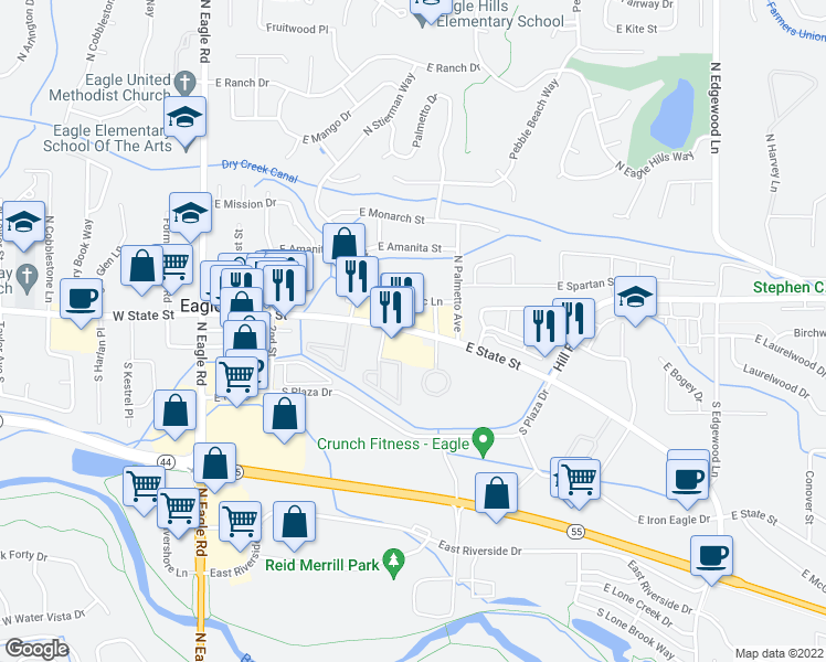 map of restaurants, bars, coffee shops, grocery stores, and more near 600 East State Street in Eagle