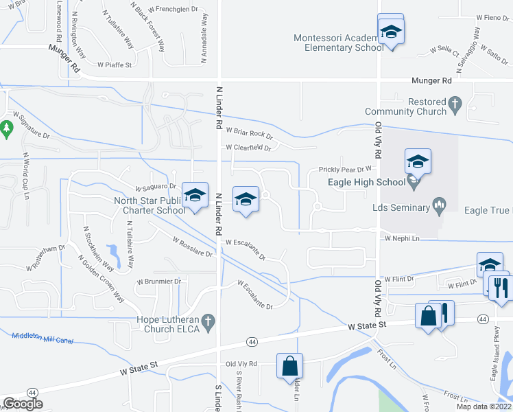 map of restaurants, bars, coffee shops, grocery stores, and more near 4663 W Saguaro Dr in Eagle
