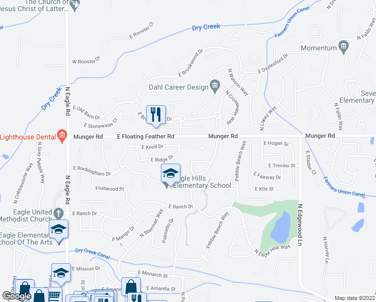 map of restaurants, bars, coffee shops, grocery stores, and more near 859 East Knoll Court in Eagle