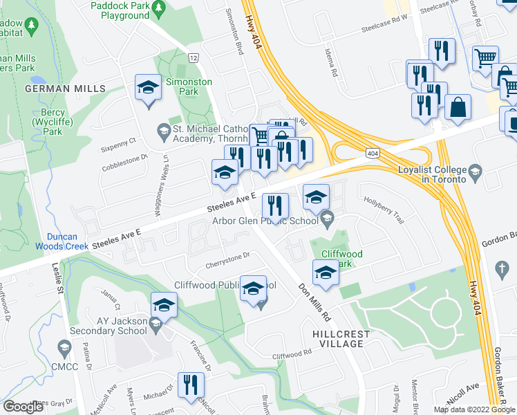 map of restaurants, bars, coffee shops, grocery stores, and more near 4005 Don Mills Road in Toronto