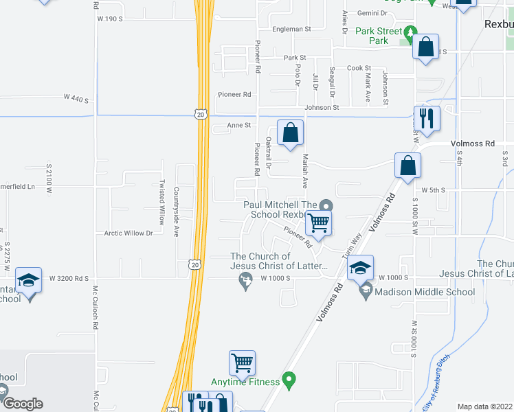 map of restaurants, bars, coffee shops, grocery stores, and more near 509-697 South 1500 West in Rexburg