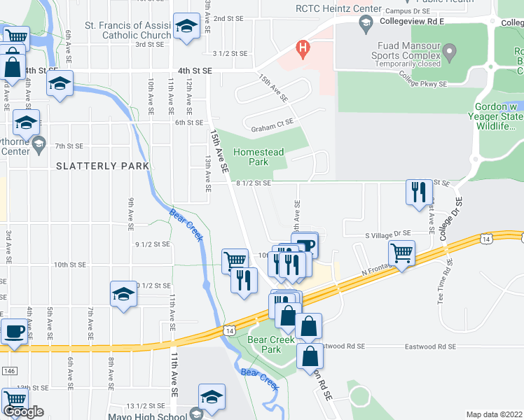 map of restaurants, bars, coffee shops, grocery stores, and more near 845-999 Homestead Village Lane Southeast in Rochester