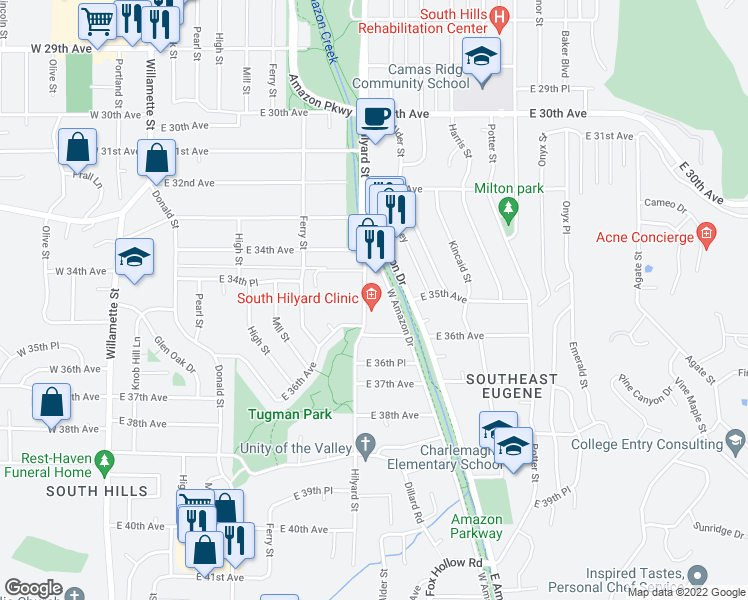 map of restaurants, bars, coffee shops, grocery stores, and more near 3443 Hilyard St in Eugene